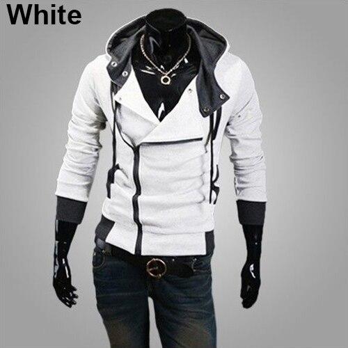 2017 New Men Fashion Side Zip Design Hooded Sweatshirt Long Sleeve Slim Fit Hoodie Coat