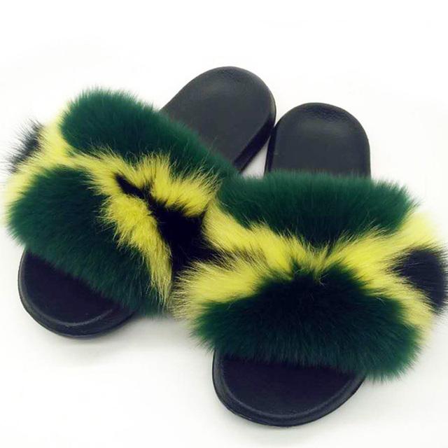 Women Summer Real Fox Fur Slides Women Non-slip Fluffy Fur Slippers Women Furry Slippers Ladies Cute Plush Fox Hair Slippers Hot