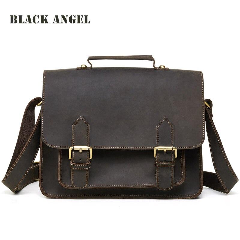 BLACK ANGEL Genuine Leather men messenger bags casual men cow leather briefcase fashion designer male crossbody shoulder bags
