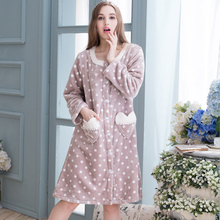 Autumn And Winter Female New Arrival Women Coral Fleece Thickening Flannel Robe Sleepwear Lounge