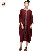 Jiqiuguer Original Brand 100 Cotton Full Dress Women Plus Size Loose Embroidery Ethnic Style One Piece