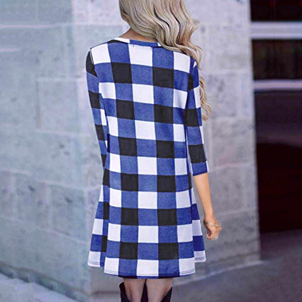 Robe femme ete женское повседневное клетчатое платье с принтом 3/4 рукавом с круглым вырезом женское простое свободное женское платье verano 2019 лето