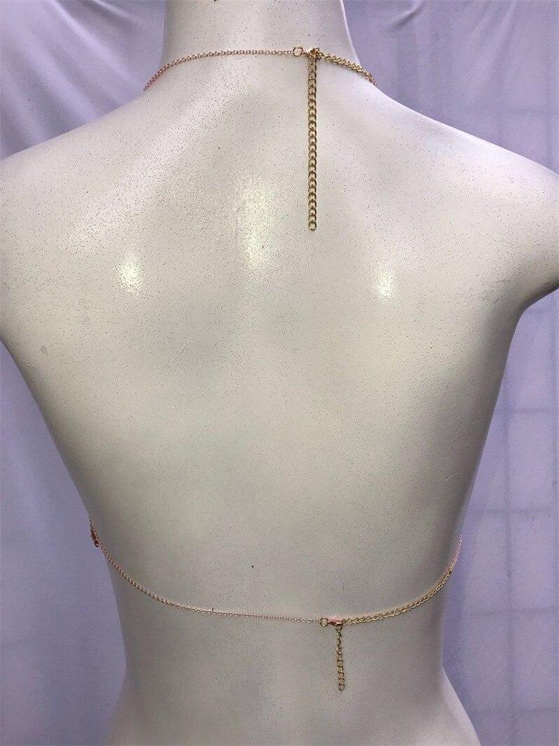 Sexy dos nu or rouge Bling diamants strass plaqué métal hauts licou Camis évider femmes bustiers accessoires été - 6