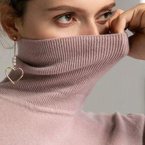Image 4 - Tendência de Cores Das Mulheres Real de 100% Lã Merino Camisola de Gola Alta Pullover Costela Sólidos Blusas de Colarinho das Mulheres Knit Top Jumper Feminino