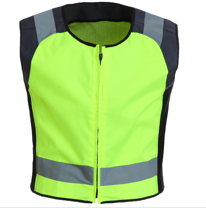 ФОТО Reflective jacket safety gear night reflective jacket fluorescent with black size S-M customize logo printing wholesales V120003