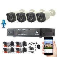 Microphone Camera Surveillance System Audio 900TVL CCTV Camera DVR Kit 18m Cable Voice & Image Monitor Night Vision Waterproof