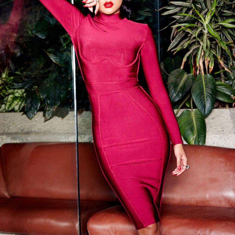 Bandage Soirée Pour Robes Femme Vin Longues Robe Rouge Hiver