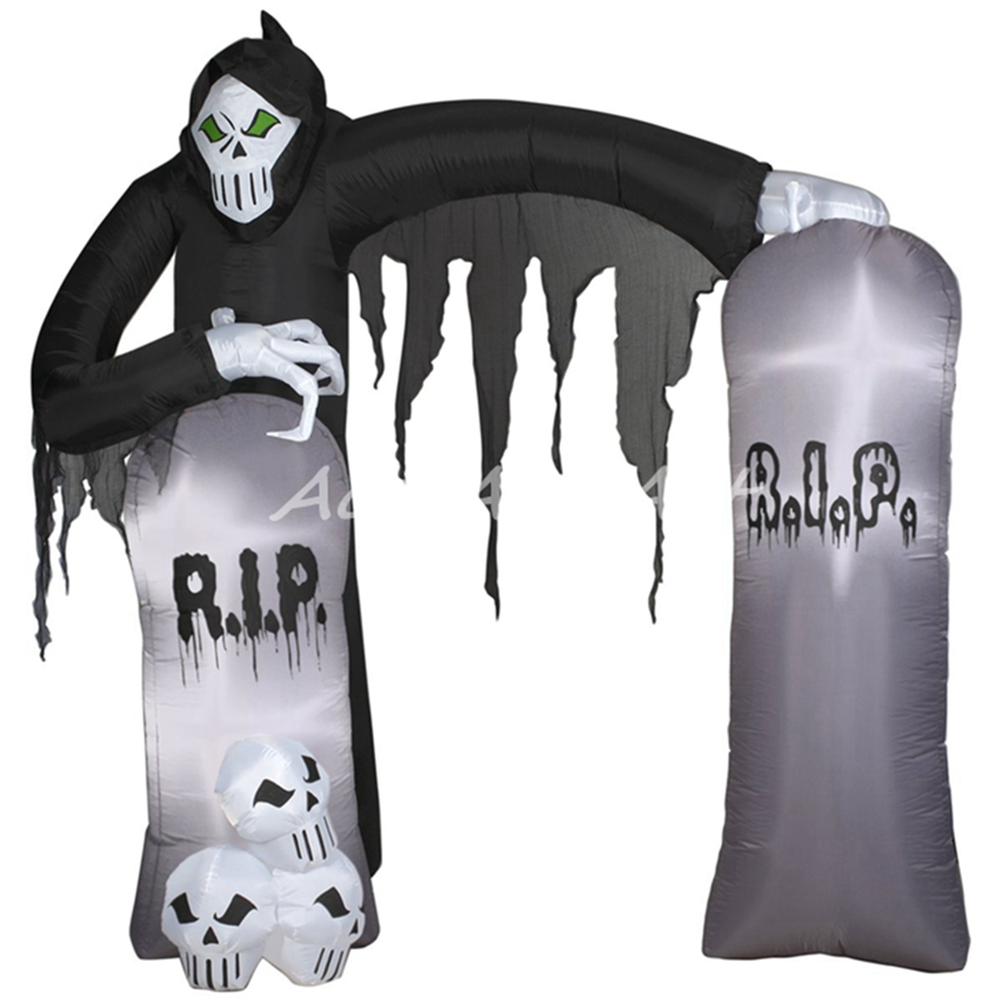 Outdoor inflatable halloween decorations - Large Tombstone Inflatable Outdoor Archway Reaper Halloween Decoration With Led Lights With Free Fan