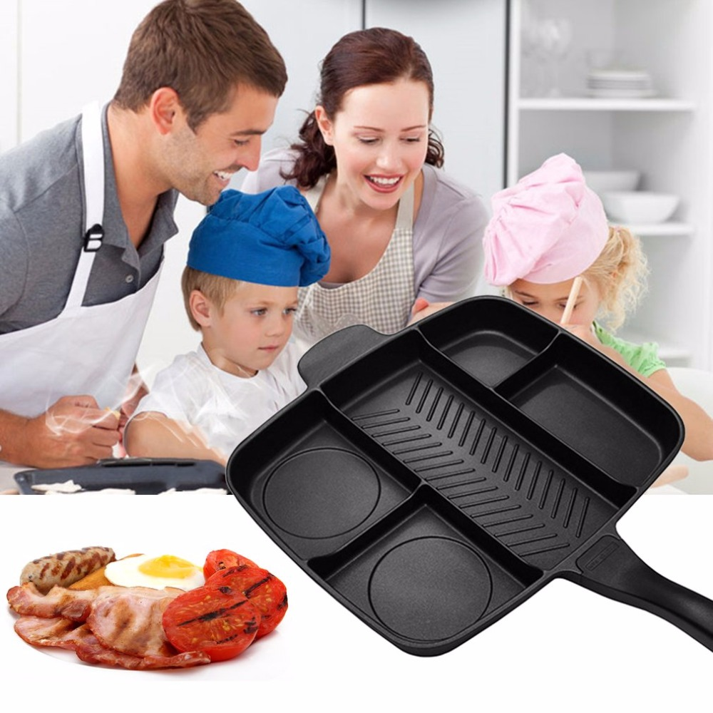 5 In 1 Multi-purpose Separation Pot Fryer Pan Non-Stick Grill Fry Oven Meal Skillet Barbecue Plate Roasting Pan