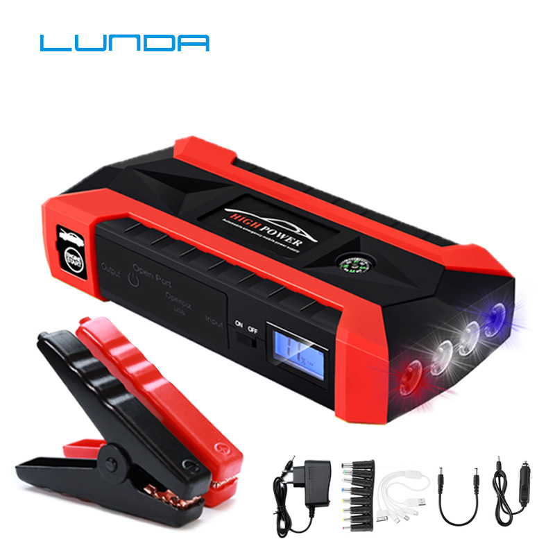 LUNDA 68000 mWh Car Jump Starter for Petrol Car Battery Charger Emergency 60C Discharge Auto Starting High Power Pack Bank(Hong Kong,China)