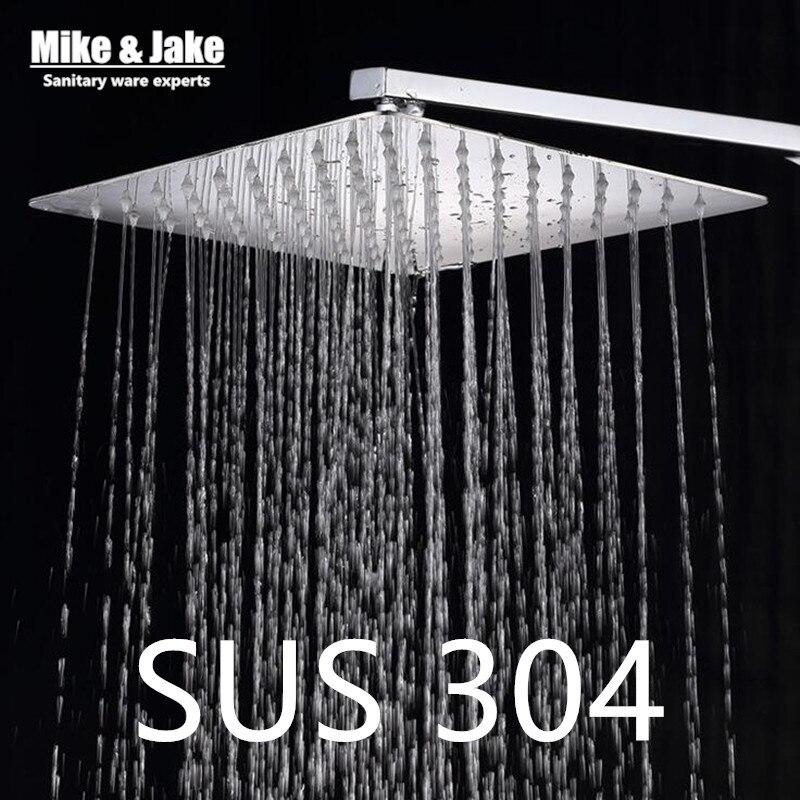 ФОТО 12 inch SUS 304 shower head with arm 300*300 stainless steel head shower with shower arm top water saving rain shower