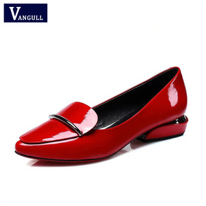 Vangull New Women Shallow Pumps Office Pointed Toe Slip-On Dress Shoes Low Heels Mirror Surface Candy Colors Patent Leather Red