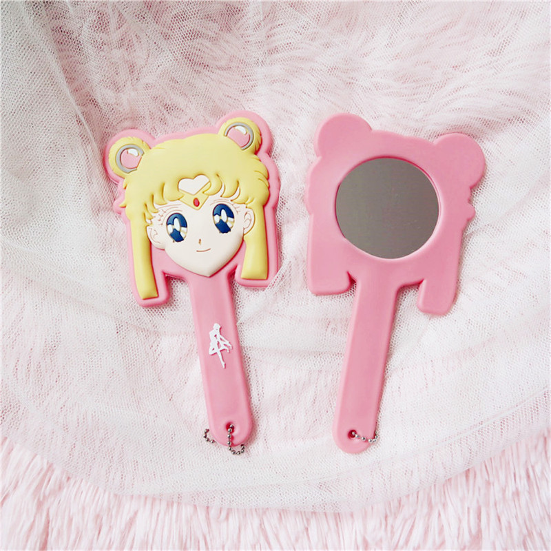 Anime New Sailor Moon Portable Makeup mirror Cute Luna Keychain Girls Women Cosplay Props Pendant Hand mirror Accessories