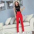 Owlprincess Atraente Vermelho Elegante das Mulheres Macacões Macacão Jeans Skinny Jeans Romper Suspender Calças Longas Calças de Brim Com Zíper