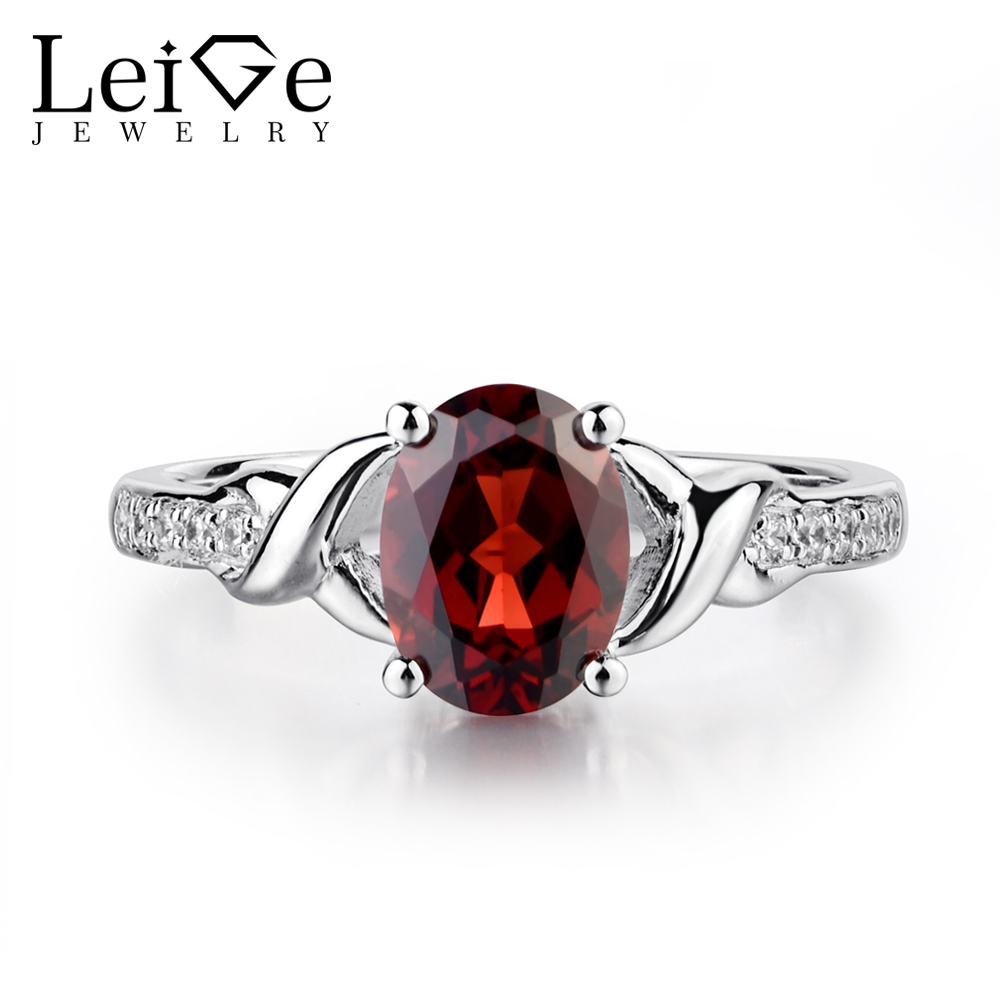 Leige Jewelry Natural Garnet Rings for Women Oval Shaped Wedding Engagement Ring Sterling Silver 925 Fine Jewelry Red Gemstone leige jewelry natural amethyst ring purple gemstone oval shaped wedding engagement rings for women sterling silver 925 jewelry
