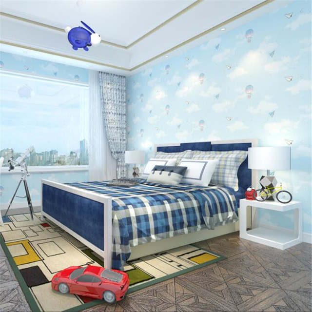 Beibehang Cartoon Hot Air Balloon Children S Room Background Wallpaper Pink Boy Bedroom Bedside