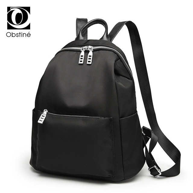 2017 black fashion waterproof nylon backpack women school ...