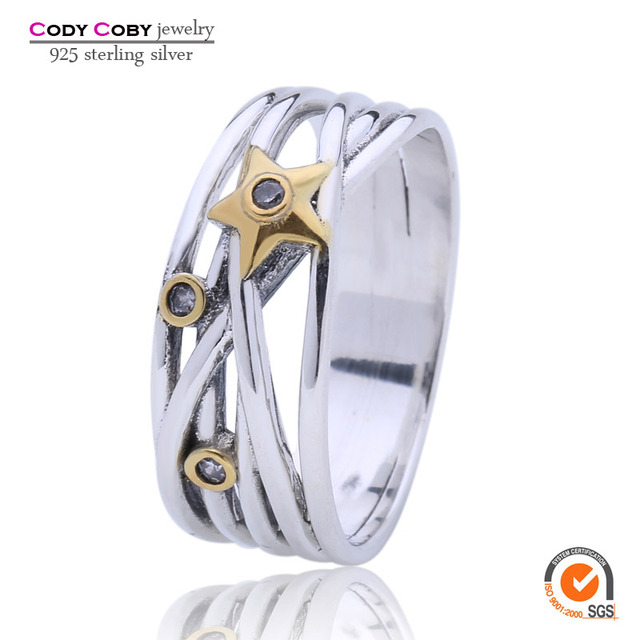 Original Fashion Authentic 925 Sterling Silver Star New Gold Plated Rings Compatible with Pan For Women Men Retro Jewelry
