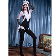 NEW 2015 Women's Spandex Cosplay Bodysuit and Hood White and Black Zentai Costume Spiderman Superhero Costume L15245