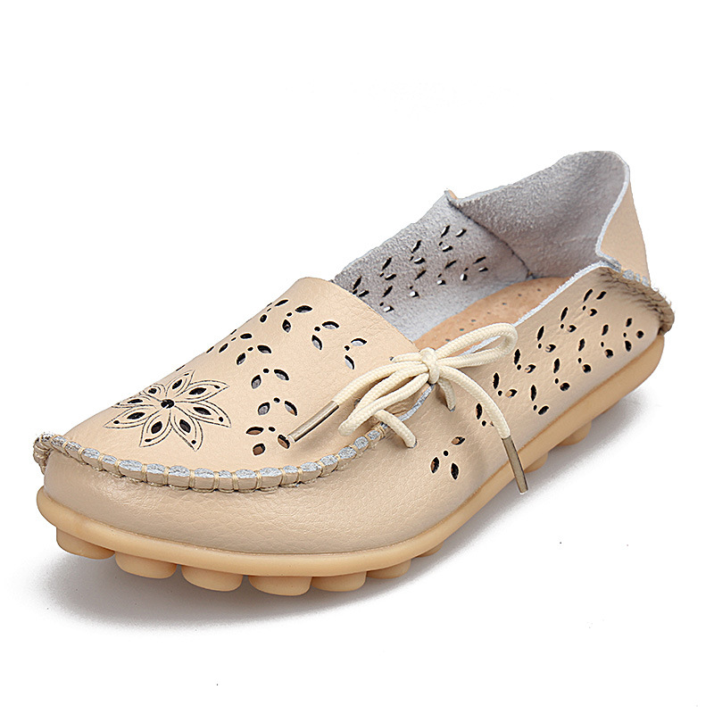 PU Leather Flats Shoes Female Loafers Women Casual Shoes Hollow Out Soft Bottom Mother Shoes Plus Size