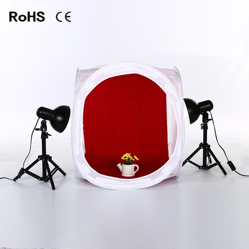 Photo Studio Shooting Tent Light Cube Diffusion Soft Box Kit with 4 Colors Backdrops&2*Fluorescent Lamp Lighting Kit(2 bulbs in)