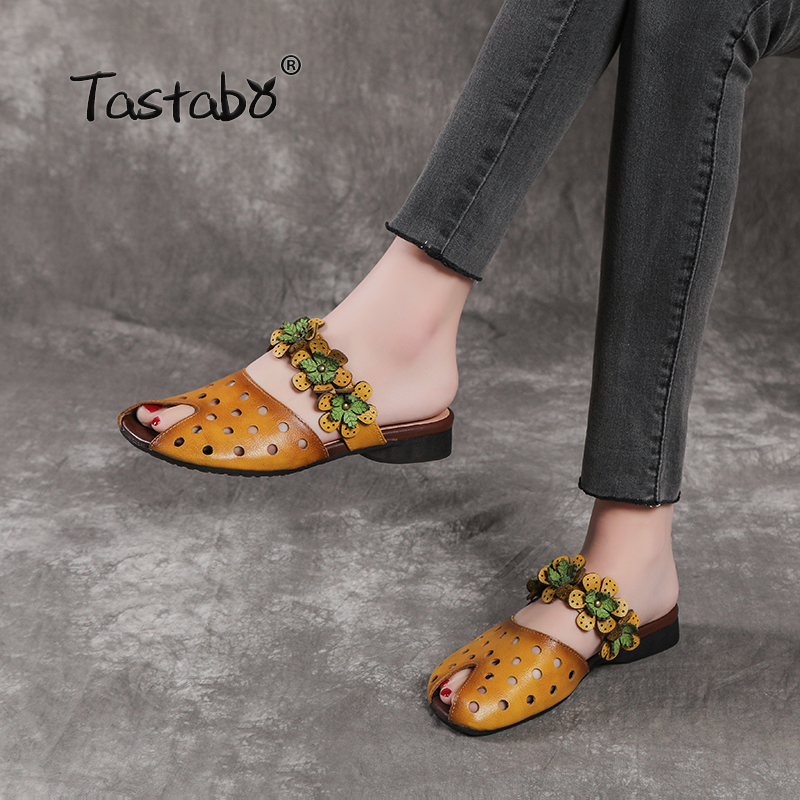 Tastabo Outdoor printing Slippers Genuine Leather Shoes Handmade Slides Casual Wild Wear resistant outsole Openwork upper
