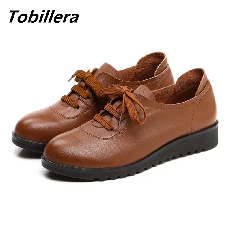 Tobillera 2017 Spring Autumn Women 100 Real Leather Lace Up Casual Shoes Low Heel Old Mother