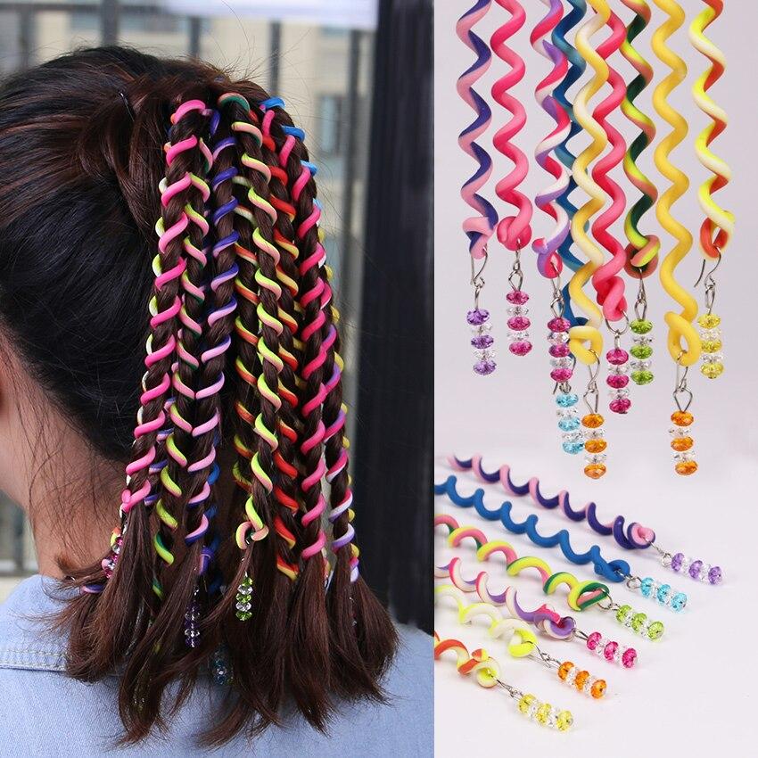 6PCS Crystal Long Elastic Hair Bands Cute Girls Rainbow Color Headband   Headwear   Kids Hair Accessories Gift