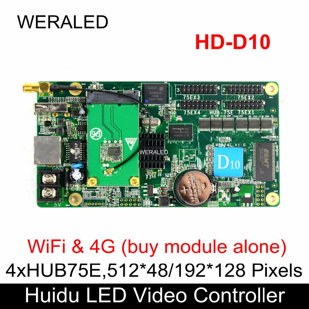 Huidu Asynchronization HD-D10 Full Color LED Video Controller 192*128 pixels ,Support WiFi & 4G extend (buy modular alone) image