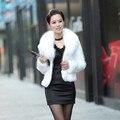 Pelo de visón abrigo de piel de imitación de piel de pelo de conejo rex capa de la chaqueta blanco y negro abrigo de piel de imitación de piel de conejo de imitación zorro cuello LY1734