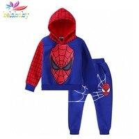 Belababy Boys Fashion Clothing Sets 2017 Brand Girls Clothes Kids Clothing Sets Spiderman Hoodies Pants 2Pcs