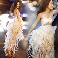 MDBRIDAL High Low Tassel Cocktail Dress Strapless Women Short Party Dress with Beading