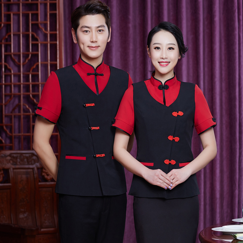 Hotel Uniform Farmhouse Short Sleeved Waiter Overalls Summer Female Chinese Restaurant Shirt Half Sleeve Work Clothes J033