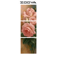 ZOOYA Wall Stickers Triptych Paintings Diamond Embroidery 3d DIY Diamonds Painting Cross Stitch Pink Rose Mosaic