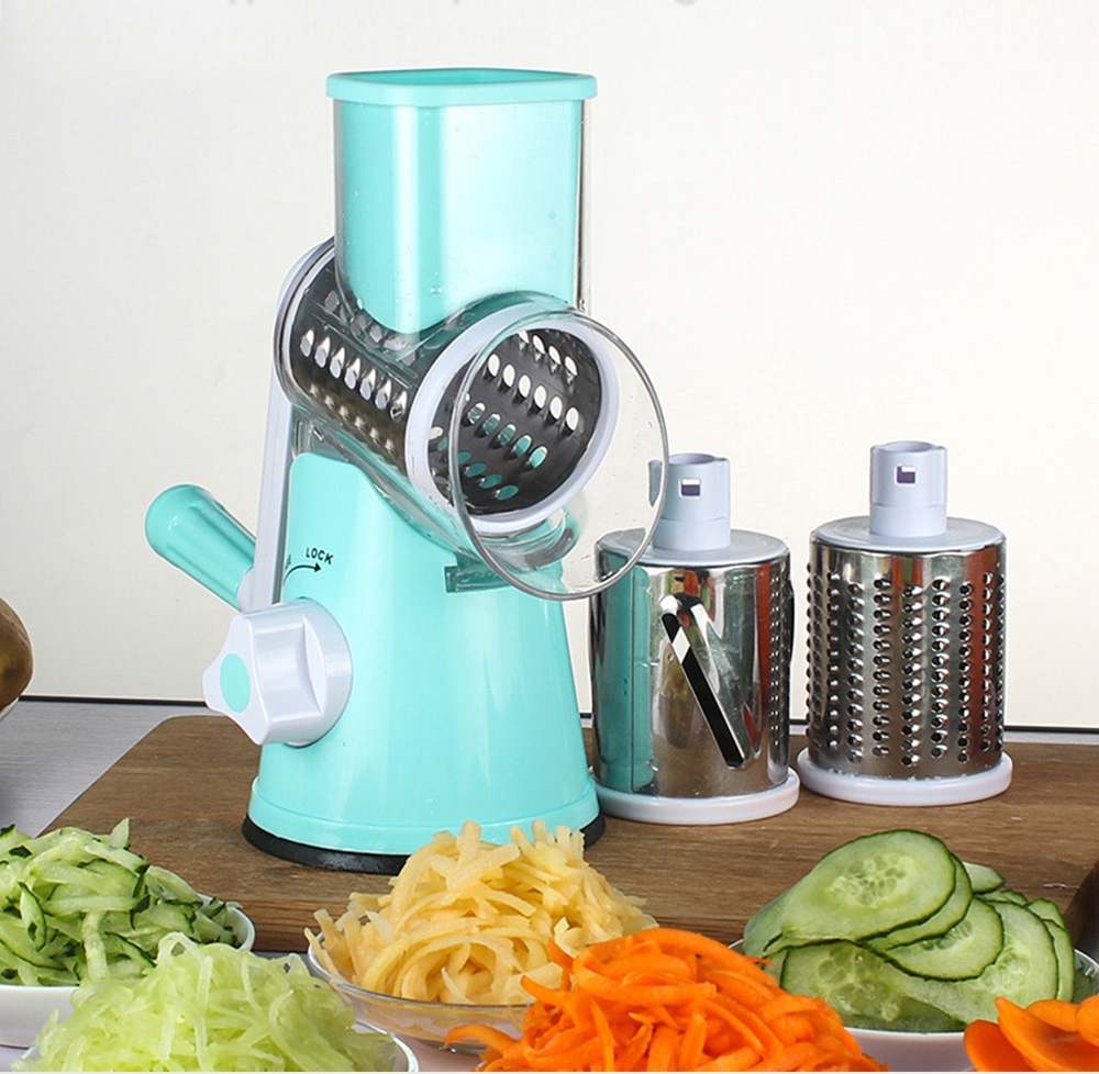 Manual Hand operated Vegetable Slicer Cutter 3 Stainless Steel Blade ...