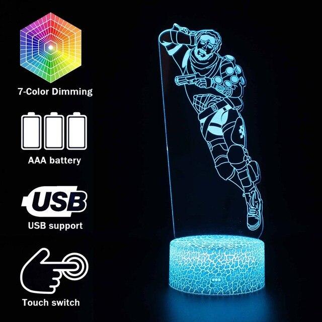 Sáng đồ chơi 3D ảo ảnh Đèn Led Apex Truyền Thuyết Mirage Hành Động Hình Đèn Ngủ Tấm Bảo Vệ Cho Trẻ Em Có Mặt ĐỈNH đồ chơi dành cho Game Thủ