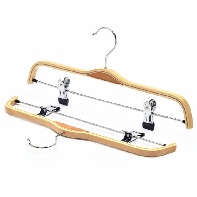 Free Shipping Laminated Wood Pant Hanger Rack Wood Trousers Hanger with Clips 12 pieces lot