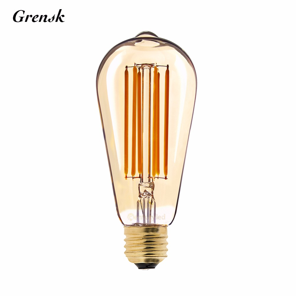 Gold Tint,Edison ST64 Pearl Type,6W,Retro LED Long Filament Bulb,Super Warm 2200K,E26 E27 Base,Decorative Lighting,Dimmable