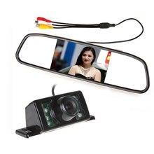 Парковка комплект с 4,3 «зеркало Парковка монитор зеркало заднего вида монитор + 7 ИК Ночное Видение заднего резервного копирования камера