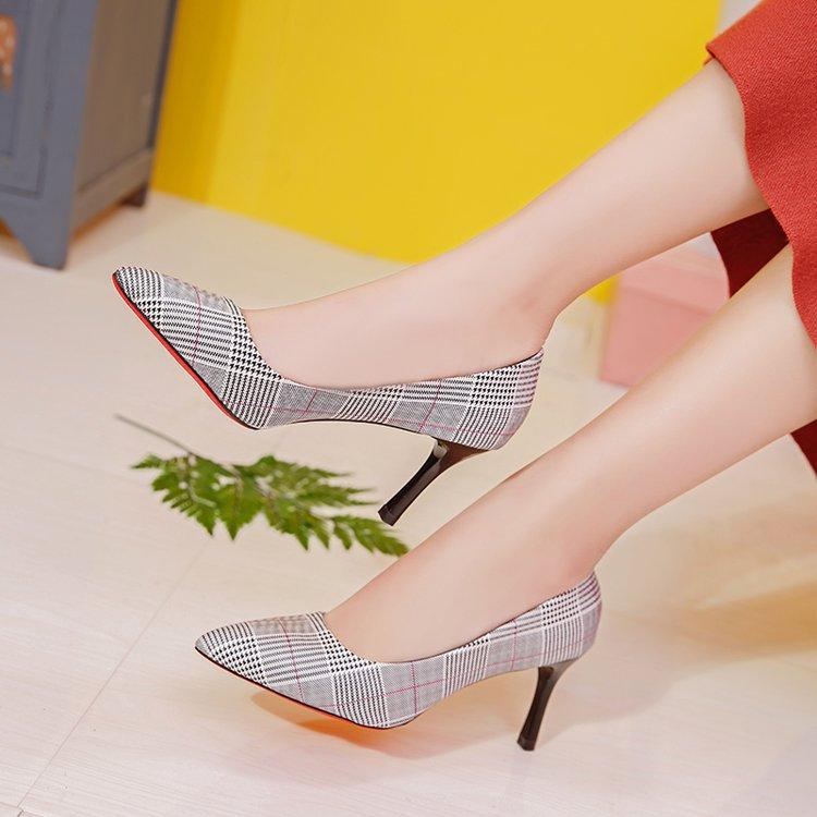Las Mujer Altos Mujeres brown Rejilla Moda Otoño Primavera Cuero Zapatos  2019 Stilettos Tacones Deslizamiento En Elegantes Nueva Beige Pu 8 Sexy Cm  Bombas ... c79fb08a986c