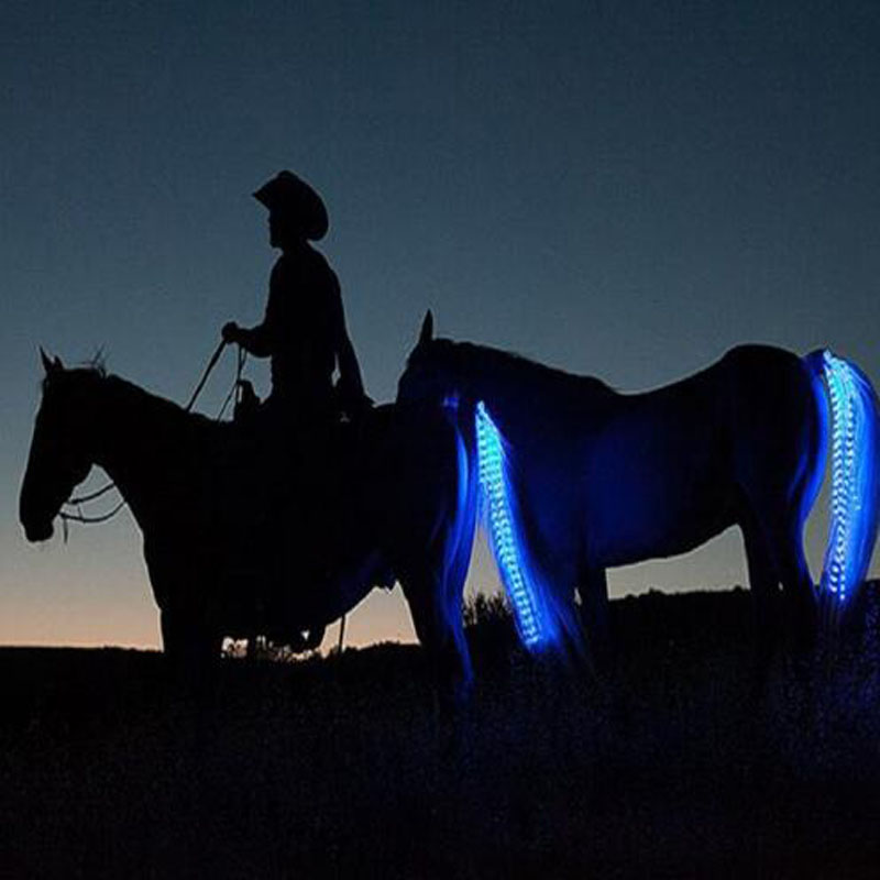 55cm/100cm Long LED Horse Riding Tails Decoration Luminous Tubes Horses Riding Equestrian Saddle Halters Horse Care Products adjustable pro safety equestrian horse riding vest eva padded body protector s m l xl xxl for men kids women camping hiking