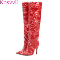 Knsvvli red transparent plastic wrap up high heel long boots women pointy toe satin PVC stiletto big size knee high boots woman