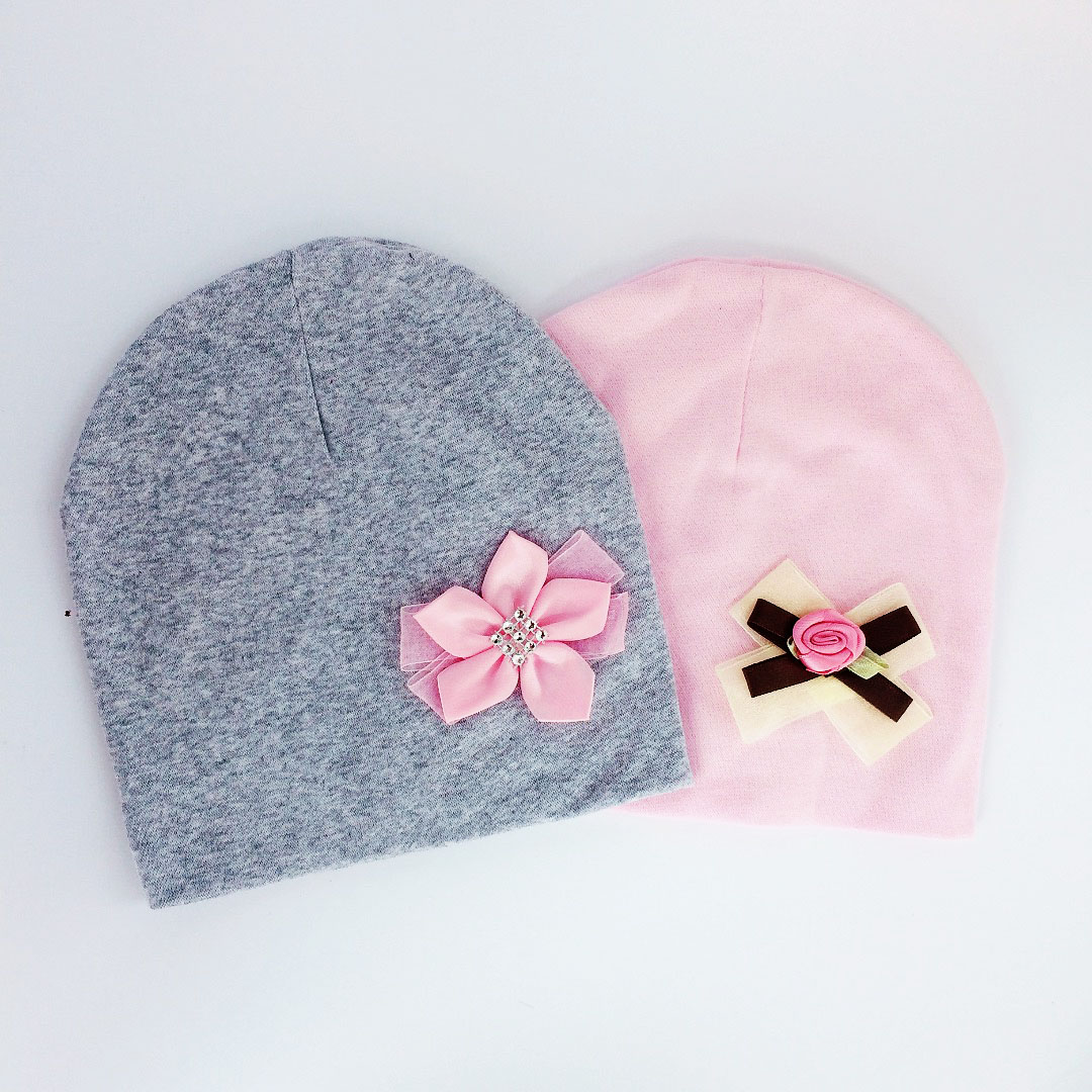 Brand Baby Girl Hat Cap Bow Tie Cotton Flower Beanie For Girls Butterfly Knot Melamed Bonnet 6 Months-3 Years