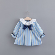 2018 New Promotion Striped Baby Dress Vestido Infantil Spring Tide Girls Bar Sweet Bowknot Princess Dress Long-sleeved The Doll