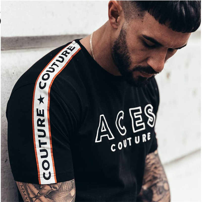 2018 новая брендовая одежда тренажерные залы мужская футболка мужская с круглым вырезом Спортивная футболка homme хлопок тренажерные залы Футболка Мужская Фитнес летняя футболка для бега