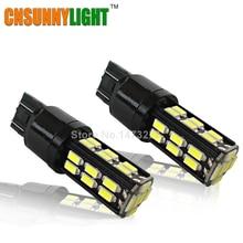 CNSUNNYLIGHT T20 Led smd 5730 7443 30 Leds W21W Car stop Backup Reverse light Rear Front signal White 6000K 12V