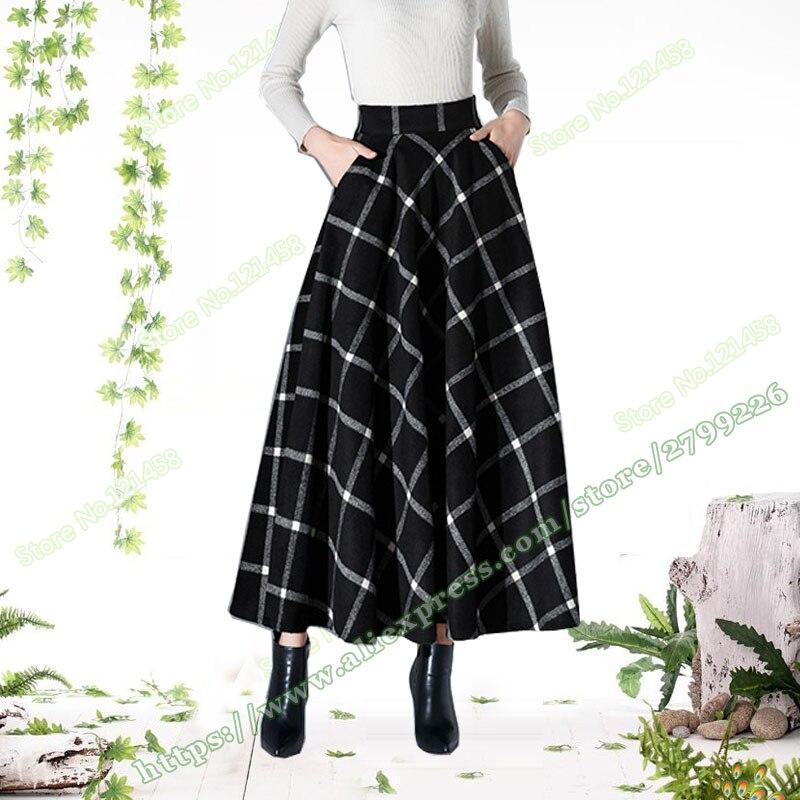 2017 Autumn And Winter Plus Size XXXXXXL 5XL 6XL Fashion Vintage Woolen a line Black Red