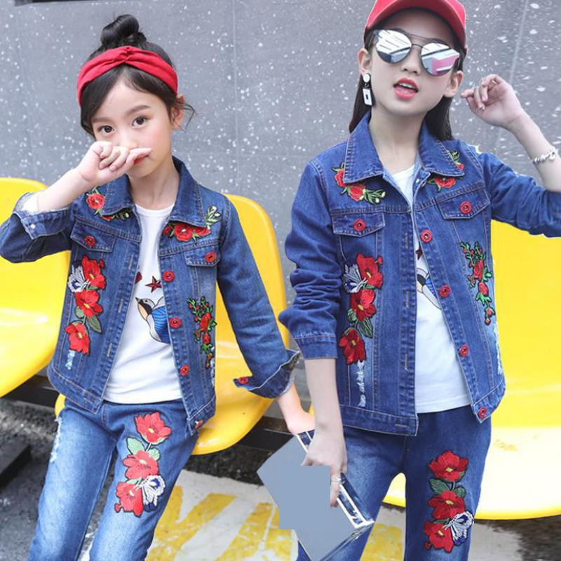 Girls Denim Clothing Set Embroidery Jackets + Jeans Suits 2pcs Autumn Winter Children Clothes Teen Fashion Sportwear 10 12 Years 2018 autumn winter denim kids clothes embroidery floral jacket jeans 2pcs girls spring teenage girls clothing 6 8 10 12 years