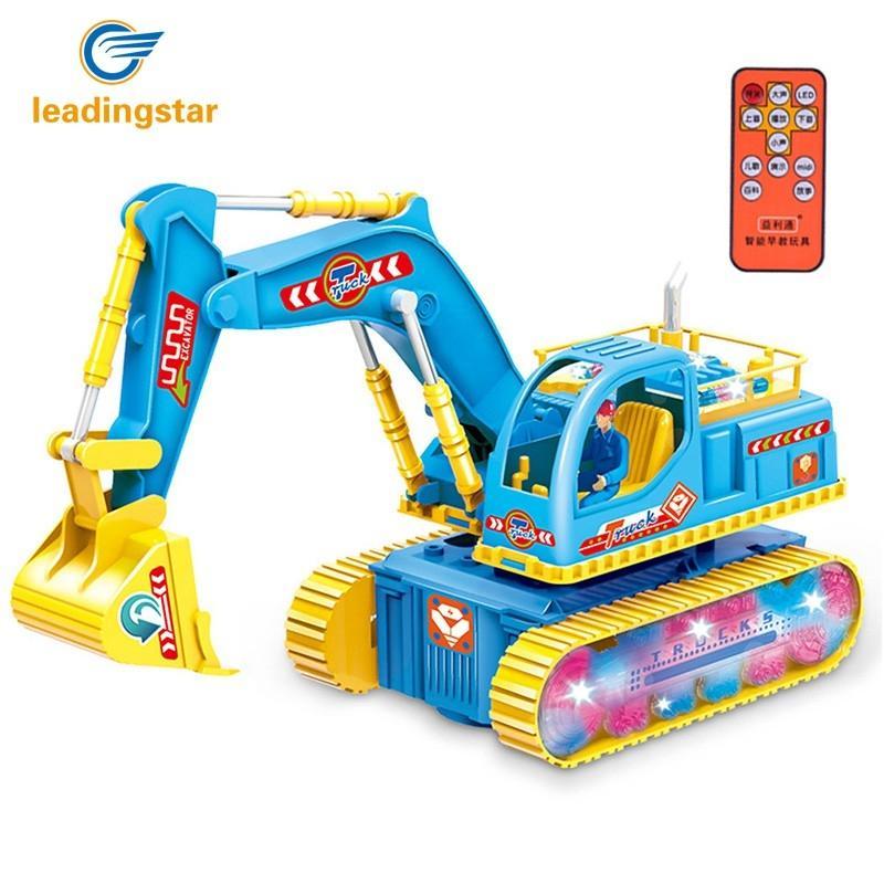 LeadingStar Kids RC Storytelling Flashing Excavator Toy Puzzs