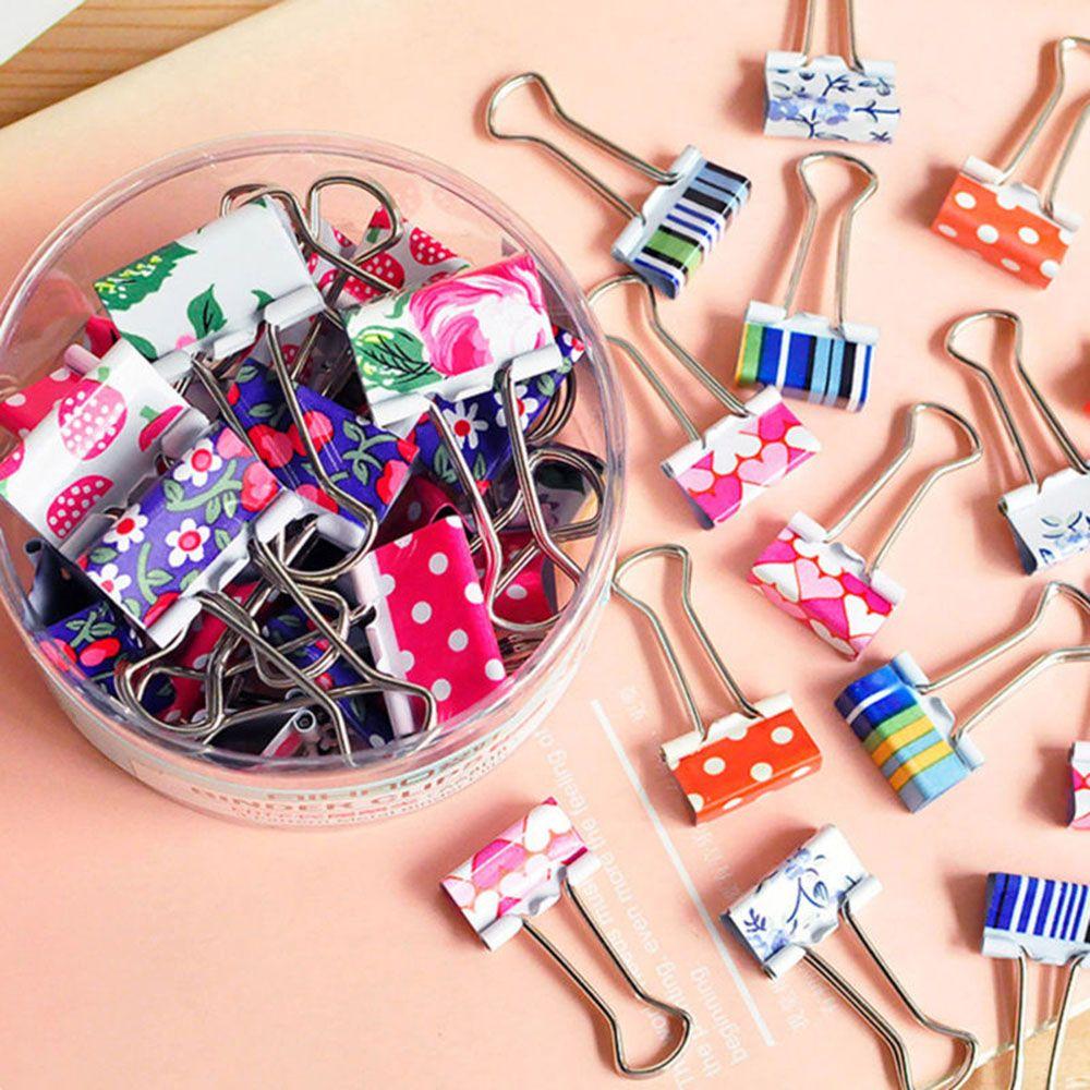 24Pcs/set Cute Colorful Flower Metal Binder Clips File Paper Clip Office School Supplies